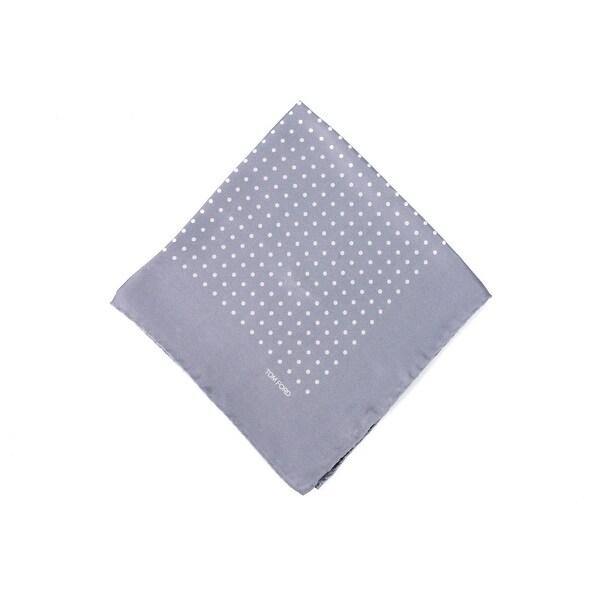 Tom Ford Men's Solid Grey Polka Dot Silk Pocket Square
