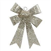 NorthLight 7 in. Champagne Sequin And Glitter Bow Christmas Ornament