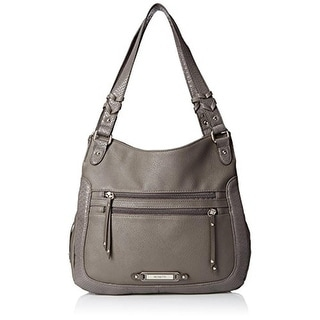 Rosetti Womens Swept Away Four Poster Faux Leather Snake Trim Shoulder Handbag - Smoke - Medium