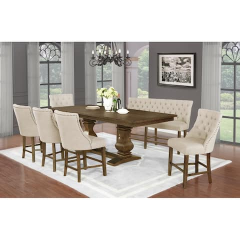Best Quality Furniture Rustic Walnut 7pc Extension Counter Height Set