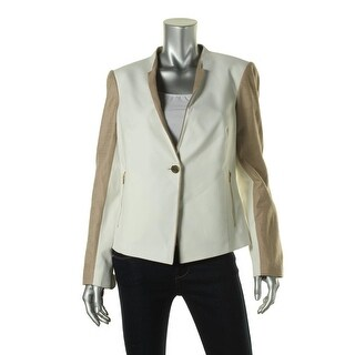 Calvin Klein Womens Linen Trim Colorblock One-Button Blazer