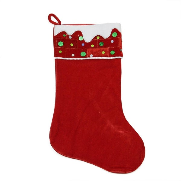 "24"" Large Red and White Sequined Velveteen Christmas Stocking"