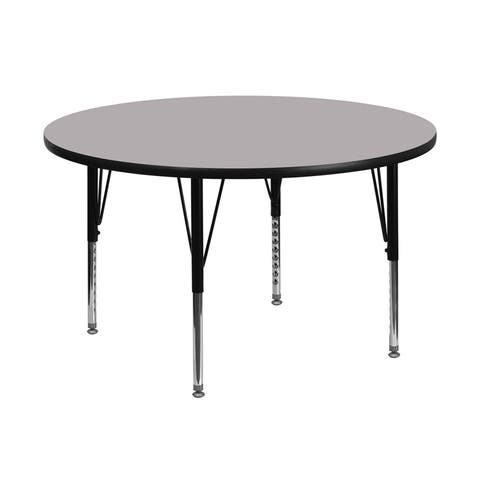 Offex 48'' Round Activity Table with Grey Thermal Fused Laminate Top and Height Adjustable Pre-School Legs - N/A