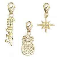 Julieta Jewelry Pineapple, Happy, Sunburst 14k Gold Over Sterling Silver Clip-On Charm Set
