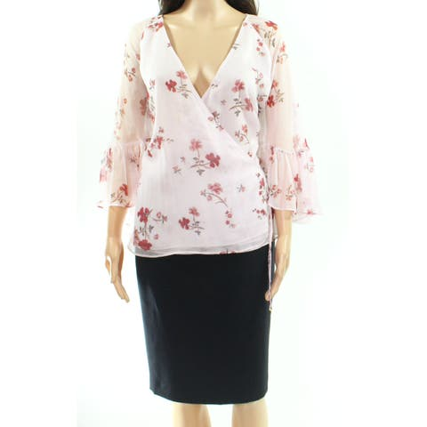 Lauren By Ralph Lauren Pink Womens Size Large L Floral Wrap Blouse