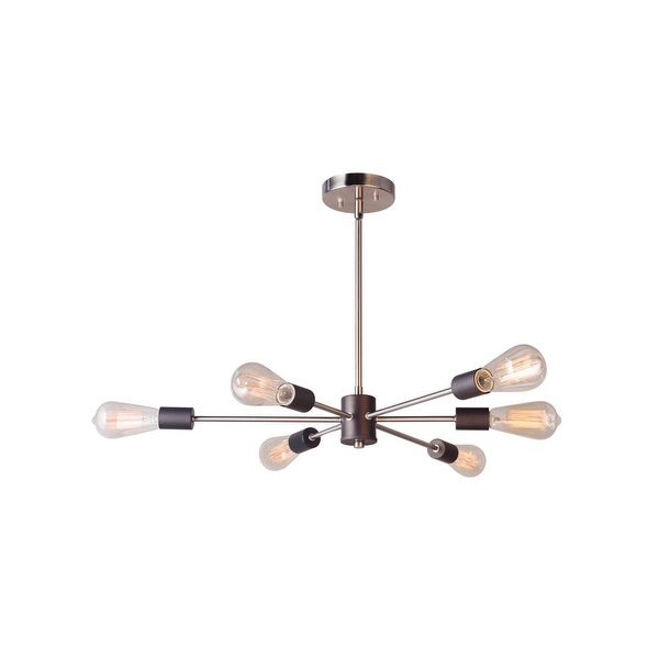 "Woodbridge Lighting 16116-ST64 Ethan 31 1/2"" Wide 6-Light Sputnik Style Abstract Single Tier Chandelier with Vintage Bulbs"