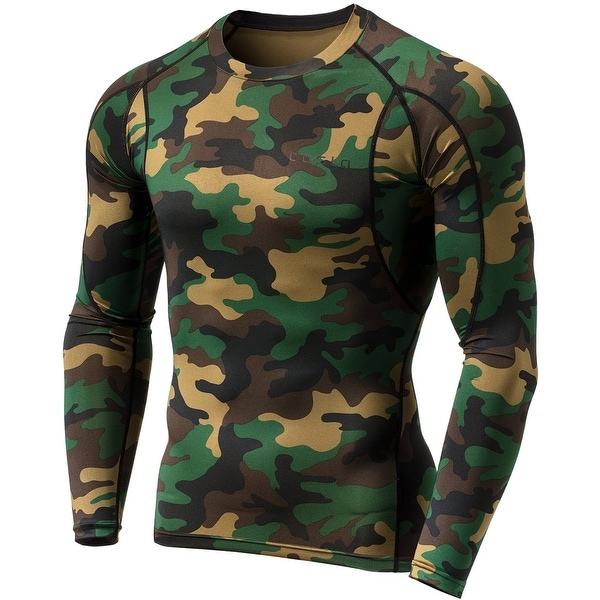 31ddbb3f5004 TSLA Tesla MUD11 Cool Dry Long Sleeve Compression Shirt - Woodland Camo/Olive.  Click to Zoom