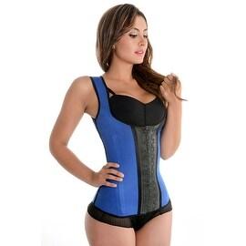 Fiorella Shapewear Sports Latex Vest Waist Cincher Trainer Corset Blue Fajas Chaleco Deportivo Reductoras Azul Colombianas