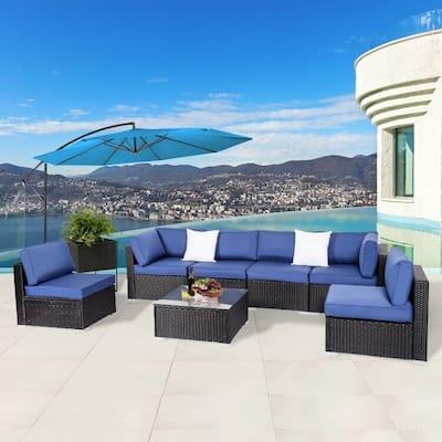 Kinbor Patio Sectional Sofa, Outdoor Wicker Conversation Set, All-Weather Cushioned Patio Sofa Set, Navy Blue