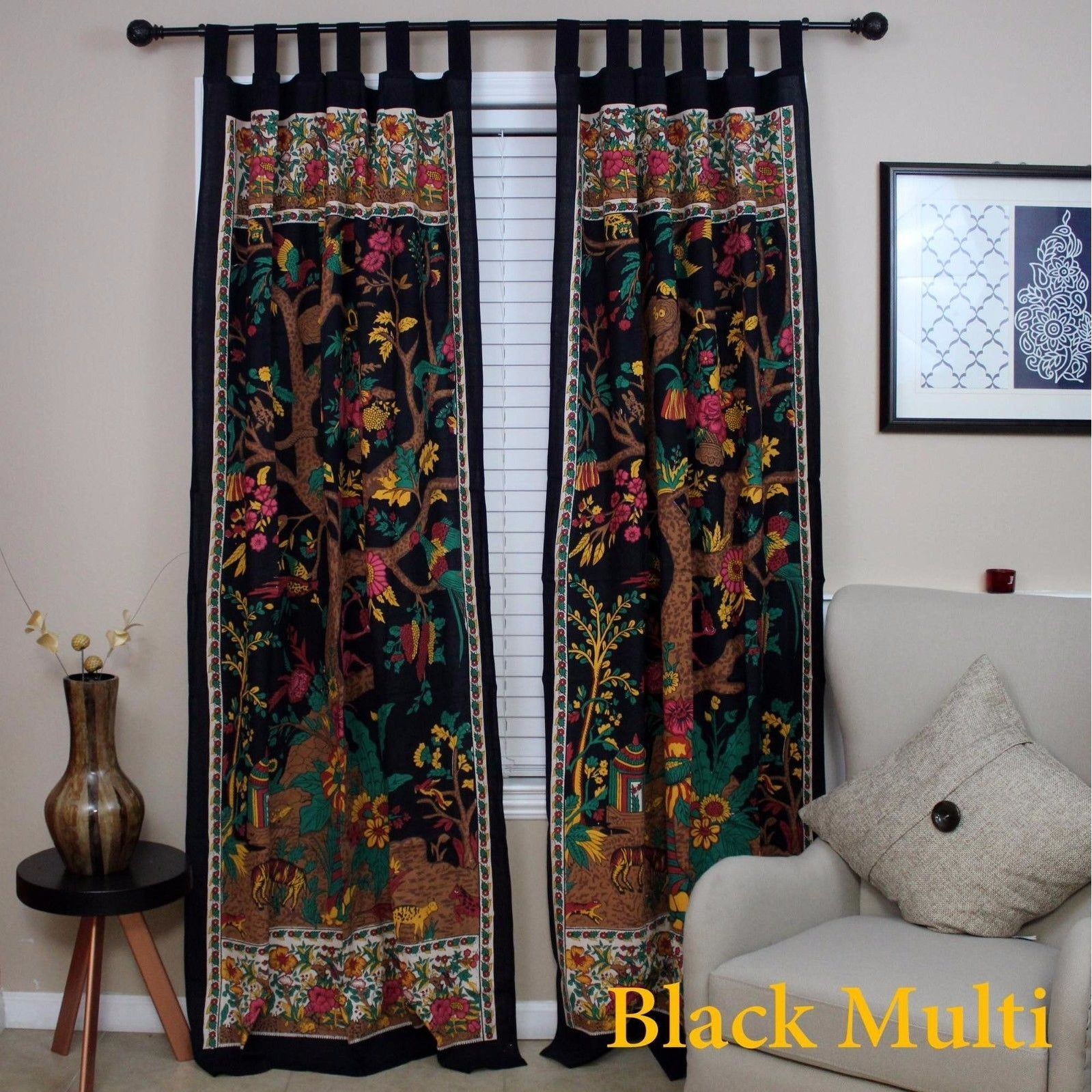 Handmade 100% Cotton Tree of Life Tab Top Curtain Drape Panel - 8 Color options - Black Gold Blue Purple Tan - 44 x 88 inches - Thumbnail 1