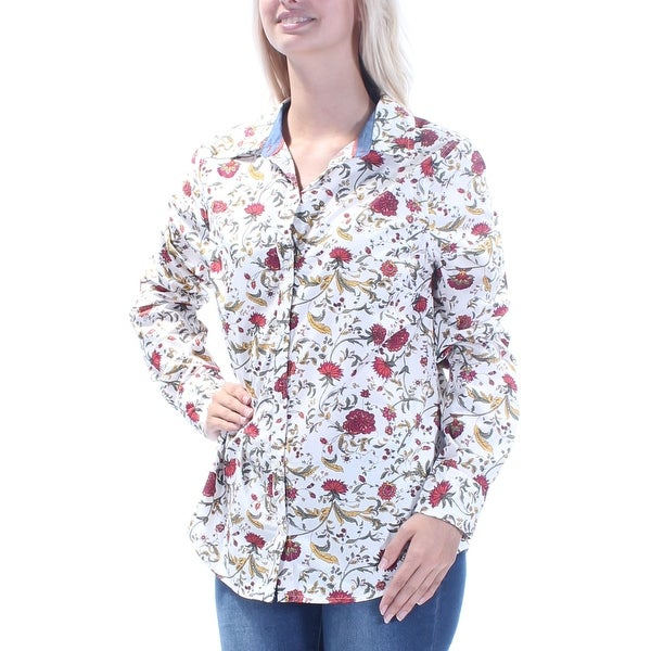 4964b6b056 Shop Womens White Floral Long Sleeve Collared Casual Button Up Top Size 6 - Free  Shipping On Orders Over $45 - Overstock - 22644674