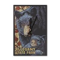 Allegany Park, NY - Black Bear Mosaic - LP Artwork (Acrylic Wall Clock) - acrylic wall clock