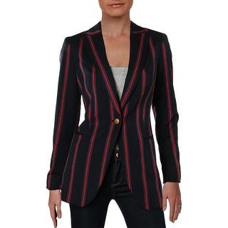 Anne Klein Womens One-Button Blazer Casual Stripe