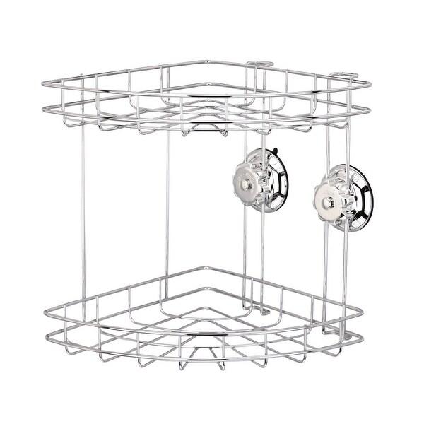 Kitchen Bathroom Stainless Steel Turn Lock Chrome 2Tier Corner Basket Caddy