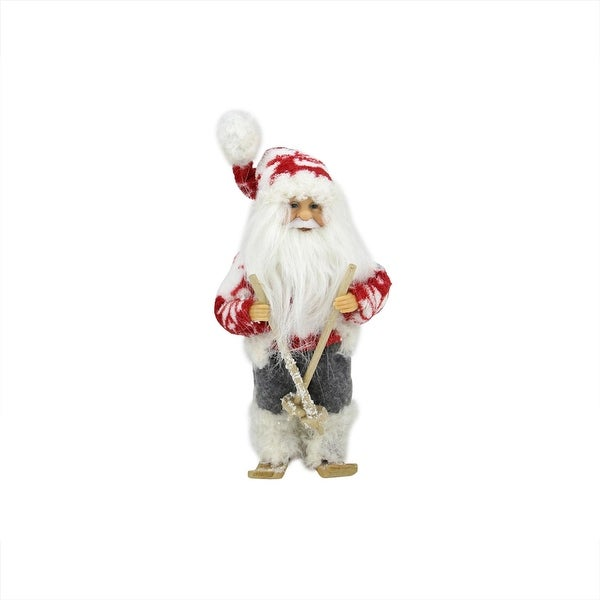 """9"""" Frontier Reindeer Red, White and Gray Skiing Santa Claus Christmas Figure"""