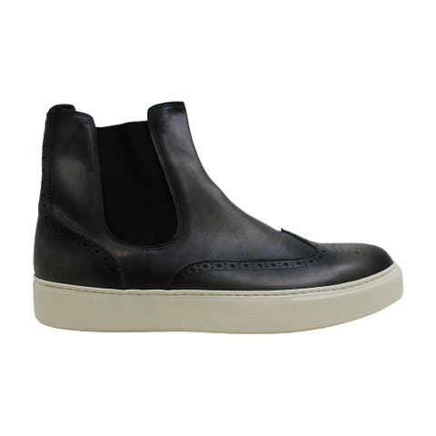 Kenneth Cole Mens Pan-Theon Leather Hight Top Slip On Fashion Sneakers