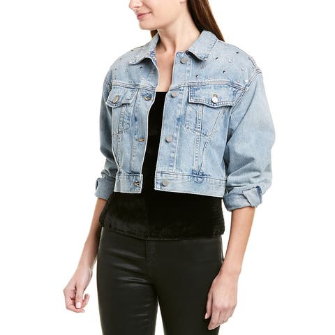 La Vie Rebecca Taylor Embellished Denim Jacket - MISTWS-MIST WASH