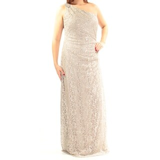 Womens Beige Sleeveless Full Length Sheath Prom Dress Size: 12