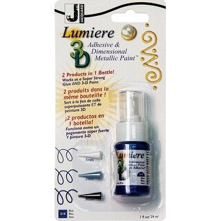 Jacquard Lumiere 3D Metallic Paint & Adhesive Blister Pk 1Oz-Blue