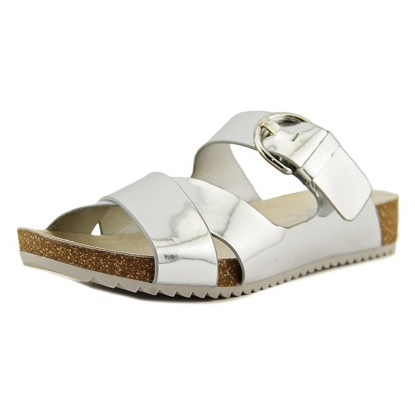 Anne Klein Querly Women Open Toe Synthetic Silver Slides Sandal