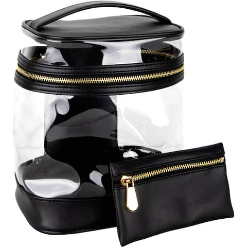 Ver Beauty VB001 Vintage Transparent Waterproof Travel Bag with Gold Zipper Closure and Leatherette Top Handle - Black