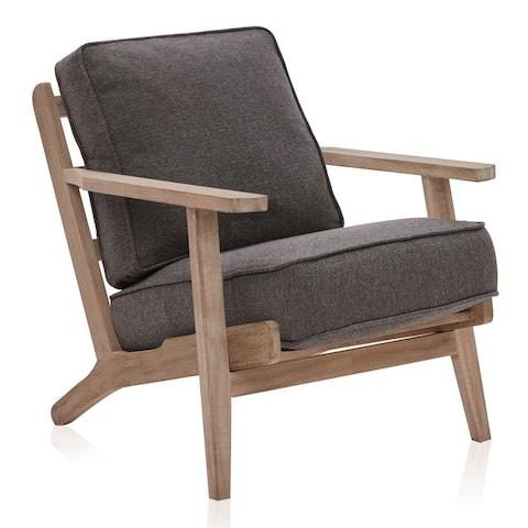 BELLEZE Maximus Accent Chair Wood Frame Linen Arm Chair, 9 Options - standard