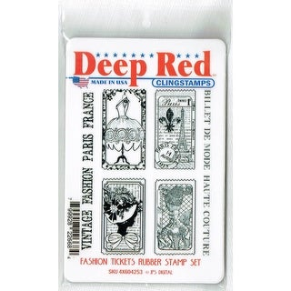 Deep Red Stamps Fashion Tickets Rubber Cling Stamp Set - 3.25 x 4.25
