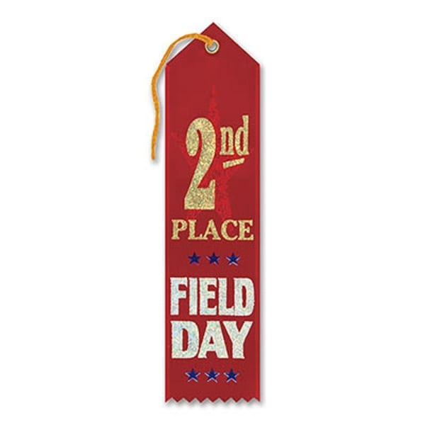"Pack of 6 Red ""2nd Place Field Day Award"" School Award Ribbon Bookmarks 8"""