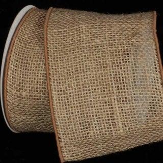"Natural Brown Burlap Wired Craft Ribbon 5"" x 10 Yards"