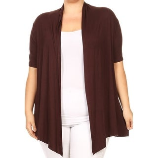 Women Plus Size Short Sleeve Cardigan Casual Cover Up Brown