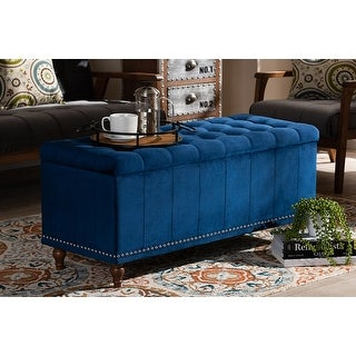 Theodore Navy Blue Velvet Fabric Button-Tufted Storage Ottoman Bench