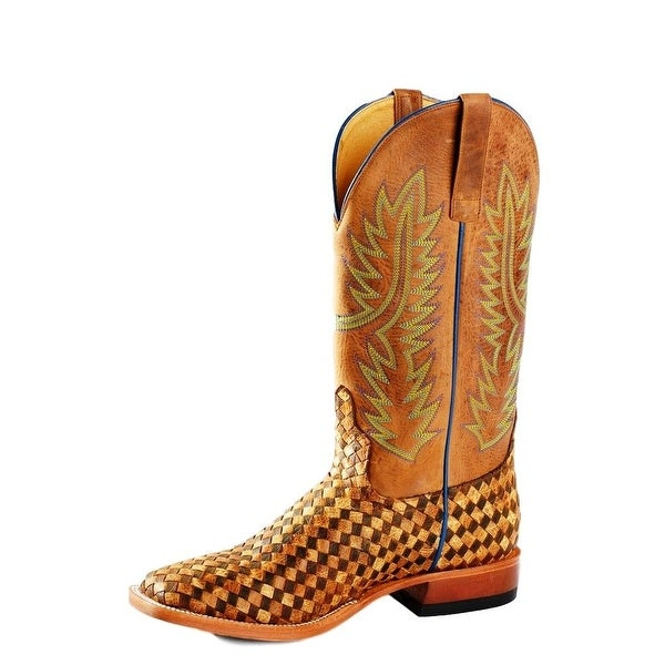 Horse Power Western Boot Men Weave Pull Tabs Roper Square Toast