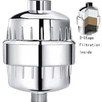 High Output Shower Head Filter Replacement Chrome Water Filter w/ 3-Stage Replacement Cartridge