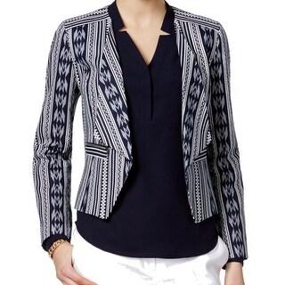 Nine West NEW Blue Ivory Women's Size 10 Wing-Collar Tribal Jacket