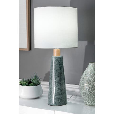 "nuLOOM 29'' Florence Ceramic & Wood Linen Shade Table Lamp - 29"" h x 13"" w x 13"" d"