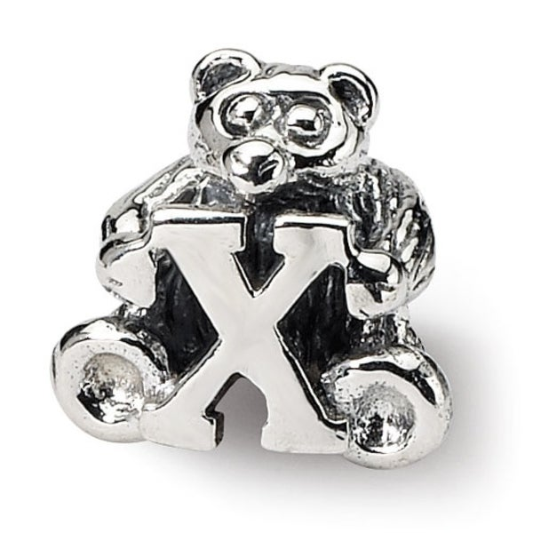 Sterling Silver Reflections Kids Letter X Bead (4mm Diameter Hole)