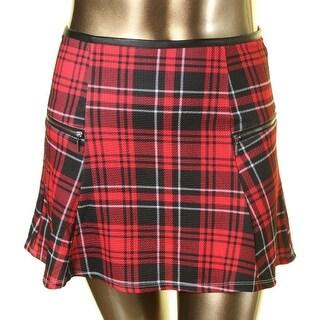 Stoosh Womens Juniors Textured Plaid A-Line Skirt