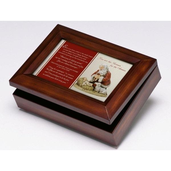 "8"" Kneeling Santa ""Silent Night"" Digital Christmas Music and Jewelry Box - brown"