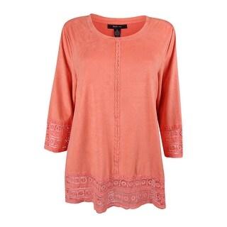 Style & Co. Women's Faux Suede Crochet Trim Top (Option: Xxl)