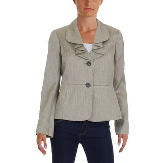 Le Suit Womens St Augustine Two-Button Blazer Shimmer Textured