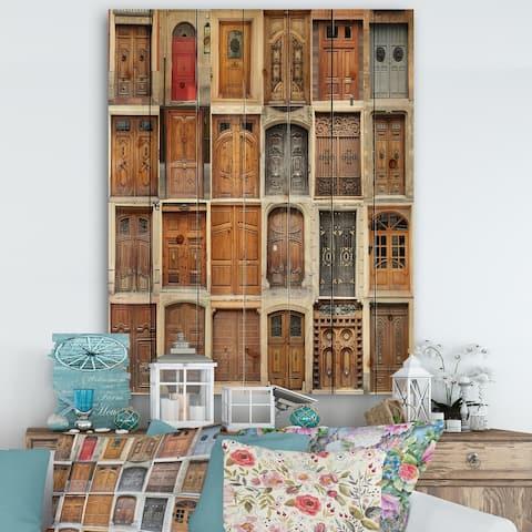 Designart 'Art Nouveau Doors' Vintage Print on Natural Pine Wood - Multi-color