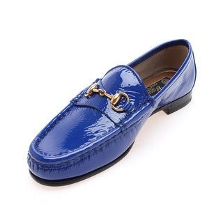 Gucci Women's Horsebit Patent Leather Loafer Blue