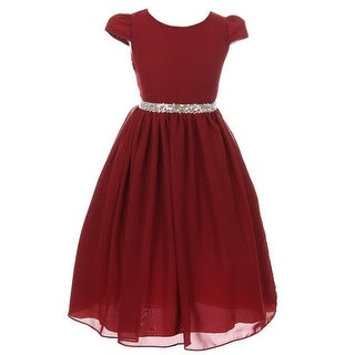 Kiki Kids Girls Burgundy Chiffon Rhinestone Waist Christmas Dress