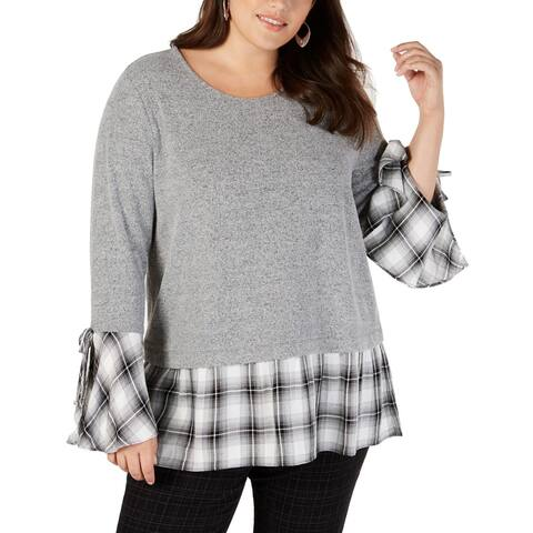 Style & Co. Women's Top Layered-Look Gray Size 2X Plus Knit Plaid
