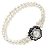 Freshwater Pearl and 1/8 ct Diamond Flower Bracelet in Sterling Silver