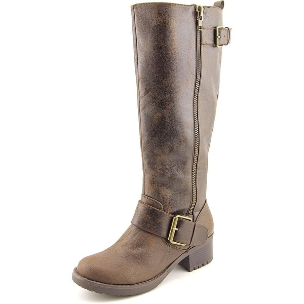 Mia Peterson Wide Calf Women Round Toe Synthetic Brown Knee High Boot