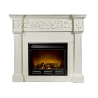 Southern Enterprises FE9279 Calvert Carved Electric Fireplace - Ivory