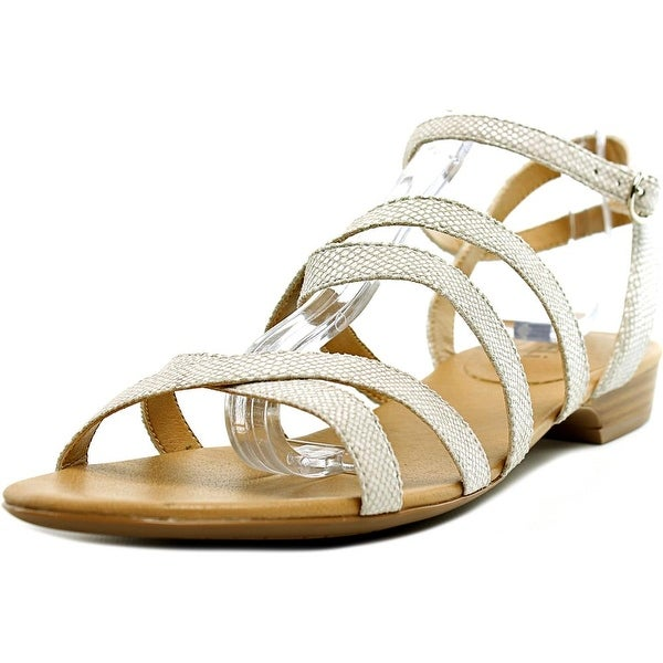 Vaneli Bibi Women Open Toe Canvas White Gladiator Sandal