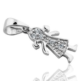 Sterling Silver CZ Baby Girl Charm Fancy Pendant Height 21 Mothers Charm