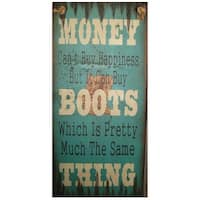 Cowboy Signs Wood Wall Hanging Money Happiness Boots Turquoise